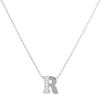 Latelita Diamond Initial Letter Pendant Necklace Silver R