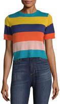 Arizona Round Neck Short Sleeve Striped Pullover Sweater-Juniors
