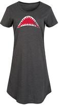 Instant Message Women's Women's Tee Shirt Dresses HEATHER - Heather Charcoal Shark Mouth Short-Sleeve Dress - Women & Plus