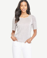 Ann Taylor Petite Metallic Pleated Knit Tee