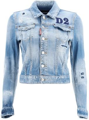 DSQUARED2 DENIM JACKET WITH D2 PATCH 40 Blue Cotton, Denim