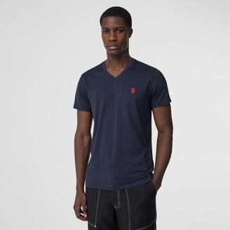 Burberry Monogram Motif Cotton V-neck T-shirt