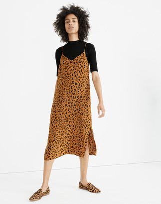 Madewell Silk Eva Side-Slit Slip Dress in Leopard