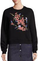 Carven Cotton Floral Embroidered Sweatshirt