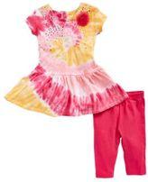 Flapdoodles Baby Girls Two-Piece Tie Dye Dress Set