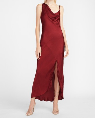 Express Satin Draped Neck Midi Slip Dress