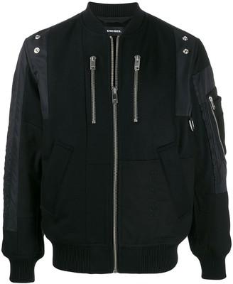 Diesel embroidered patchwork bomber jacket