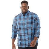 French Connection Mens Plus Size Check Long Sleeve Shirt Blue Multi