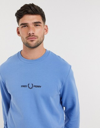 Fred Perry embroidered logo crew neck sweat in blue