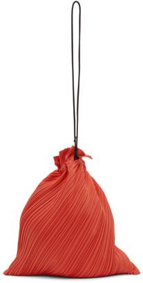 Pleats Please Issey Miyake Red Large Drawstring Pleats Bag