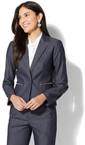 New York & Co. 7th Avenue Jacket - One-Button - Modern - Zip Accent - Navy