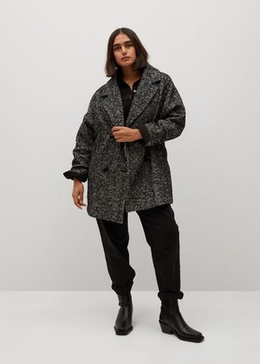 MANGO Herringbone double-breasted coat