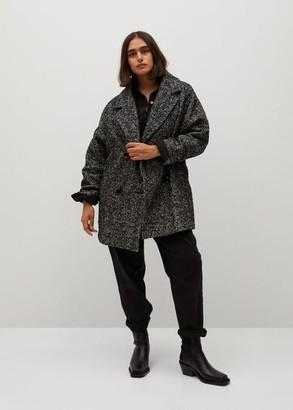 MANGO Herringboned double-breasted coat