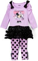 Children's Apparel Network Minnie Mouse 'Gorgeous' Ruffle Tunic & Dot Leggings - Infant