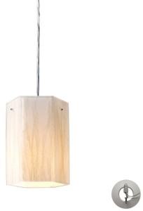Elk Lighting Modern Organics-1-Light Pendant in White Sawgrass Material in Polished Chrome
