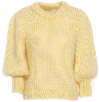 Ganni Gathered Mohair And Wool-blend Sweater
