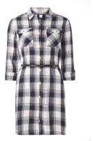Dorothy Perkins Womens Navy Check Belted Shirt Dress- Blue