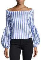 Caroline Constas Gisele Off-the-Shoulder Long-Sleeve Striped Blouse, Blue