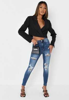 Missguided Blue Distressed Knee High Waisted Jeans