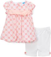 Bon Bebe Coral Floral Bubble Dress & White Capri Pants