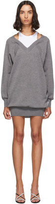 Alexander Wang Grey and White Bi-Layer Sweater Dress