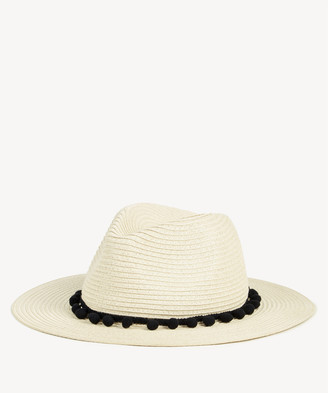 Sole Society Women's Straw Panama Hat With Poms Natural One Size Paper From