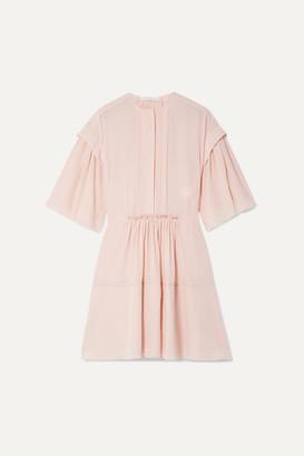 Chloé Gathered Pleated Silk-crepe Mini Dress - Blush