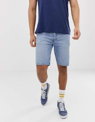 Levi's 501 regular fit hemmed denim shorts in blue marshmallow light wash