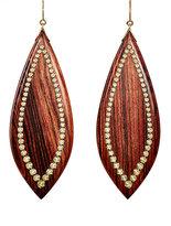 Mark Davis Women's Studded Marquise-Shaped Drop Earrings-BROWN