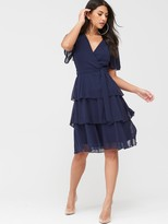 Quiz Chiffon Tiered Midi Dress - Navy