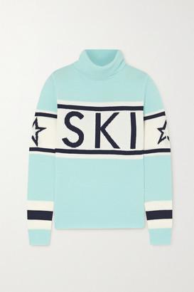 Perfect Moment Schild Intarsia Merino Wool Turtleneck Sweater - Blue