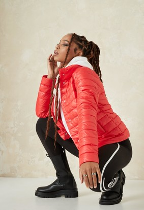 Missguided Red Lightweight Ribbed Puffer Jacket
