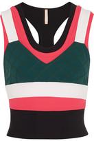 NO KA 'OI No Ka'Oi - Maua Cropped Paneled Stretch-jersey Top - Coral