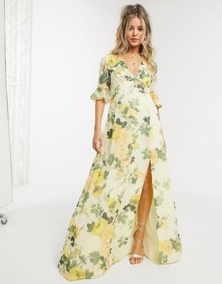 Hope & Ivy maxi tea dress in lemon floral