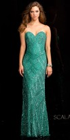 Scala Strapless Diamond Pattern Sequin Prom Dress