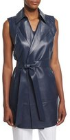 Lafayette 148 New York Diora Long Belted Leather Vest