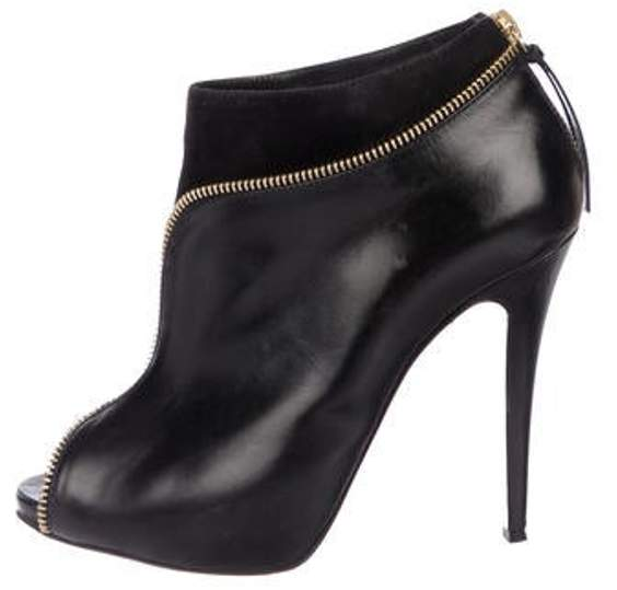 9315e15008e Leather Peep-Toe Booties Black Leather Peep-Toe Booties