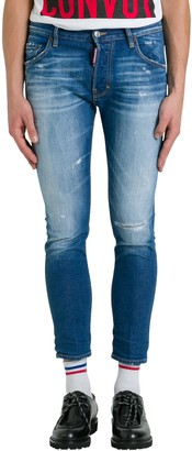 DSQUARED2 Denim Skater Light Washed With Patch On Back. Ricucito. 99% Cotton 1% Elastane