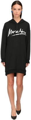 Moschino Signature Hooded Cotton Sweatshirt Dress