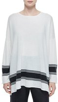 eskandar Ribbon-Striped Cashmere A-Line Sweater