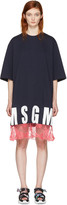 MSGM Navy Lace Hem Logo T-Shirt Dress