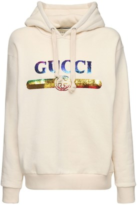 Gucci Sequined Logo Cotton Sweatshirt Hoodie