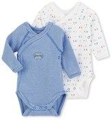 Petit Bateau Set of two newborn baby boys long-sleeved striped/printed bodysuits