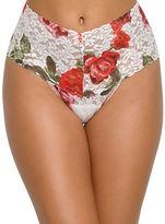 Hanky Panky Rose Print Lace Retro Thong