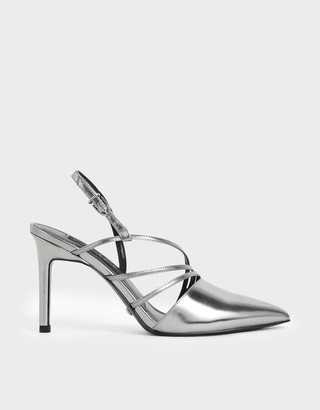 Charles & Keith Metallic Leather Strappy Slingback Heels