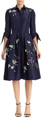 Carolina Herrera Floral Embroidered Tie-Sleeve Shirtdress