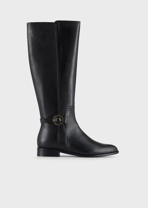 Emporio Armani Leather Boots With Logo Plate