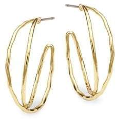 Shade Goldtone Double Wire Hoop Earrings