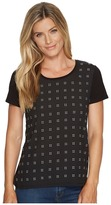 Calvin Klein Short Sleeve Scatter Stud Top Women's Clothing