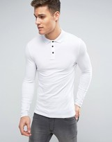 Asos Extreme Muscle Long Sleeve Polo In White